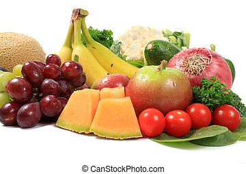 Healthy fruits and vegetables - Group of colorful fruits and...