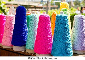 bordado, coloridos, fio, Carretéis
