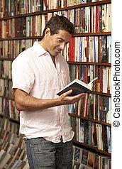 kund, manlig, bokhandel