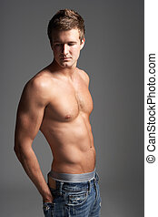 estudio, retrato, de, descubierto, Chested, muscular, joven,...