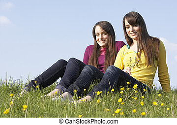 Twin Teenage Girls Sitting In Summer Meadow