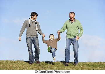 Father And Grandfather Swinging Young Boy