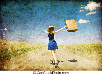 pays,  girl, solitaire, route, valise