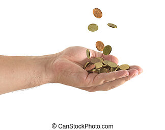 coins falling in a hand in a white background