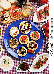 Tapas collection, various cold meal used in mediterranean...