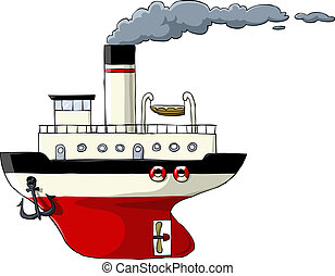 Steamer on a white background, vector illustration