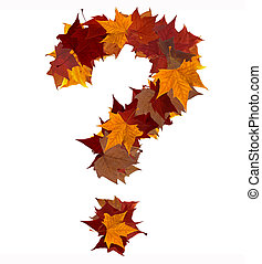 Question mark fall leaf composition isolated - Question mark...