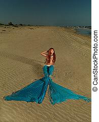 bonito, vermelho, cabelo, sereia, desertado, praia