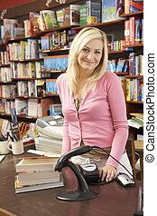 Female bookshop proprietor