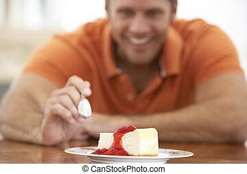 medio, viejo, comida, hombre, Pastel de queso