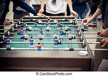 Table football players - Outdoor green table football board...