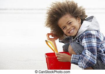 愉快, 男孩, 海灘, 水桶, 黑桃