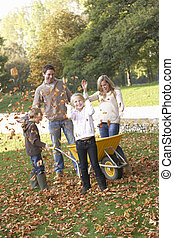 familia, lanzamiento, otoño, hojas, Aire,...