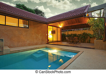 house - panoramic view of nice summer house patio with...