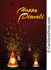 Diwali Fire Cracker - illustration of diwali background with...