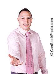 Handsome Businessman Extending His Emty Hand
