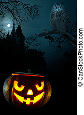 Scary pumpkin on Halloween nigh - Scary pumpkin, Owl and the...