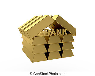 bank - 3d render of gold bank icon isolated on white...