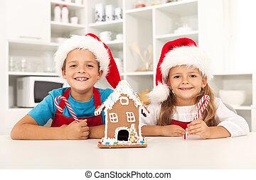 feliz, niños, navidad, cocina, tiempo