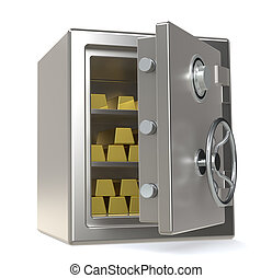 Savings - An open Safe with Gold Bars