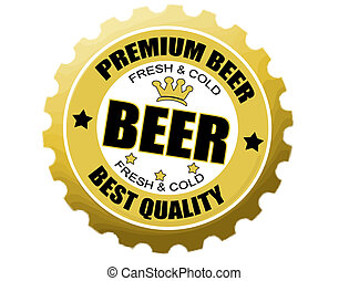 beer bottle cap label - Vector illustration of a beer bottle...