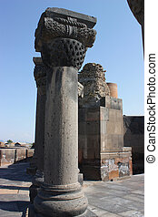 Zvartnots cathedral ruins - Old column of medieval church