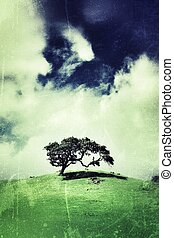 Lone tree - Tree on green hill over vintage grunge...