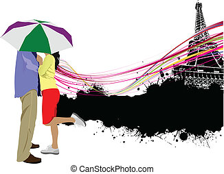 Kissing couple with umbrella on th