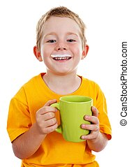Cheerful boy with milk mustache - Happy kid with milk...