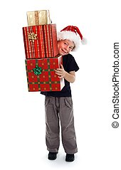 Smiling boy holding presents