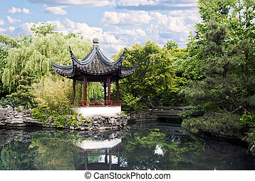 Pagoda of classical Chinese Garden in Chinatown of Vancouver...