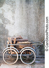 wheelbarrow with logs