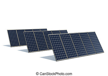 mono-crystalline solar panels against a white background