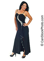 Beautiful brunette woman in black dress