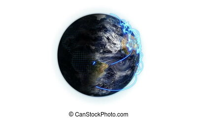 Shaded Earth with a blue network in movement with moving...
