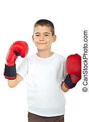 Proud boy with boxing gloves isolated on white background