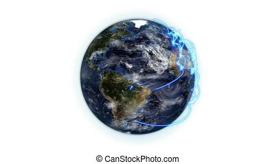 Blue network on the Earth with moving clouds with Earth...