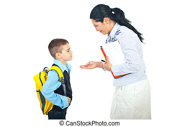 Mother and son conversation before school - Mother explain...