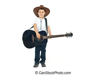 Guitarra, pequeno, tocando, boiadeiro