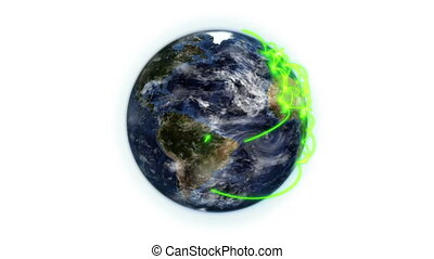 Green network on the Earth with moving clouds with Earth...