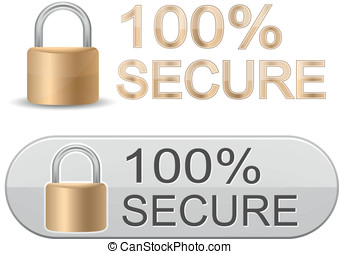 SSL Certificates Signs for website - Metallic padlock. 100%...