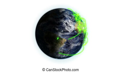 Green network on a shaded Earth and moving clouds with Earth...