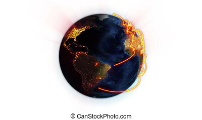 Orange network on a shaded and lighted Earth with Earth...