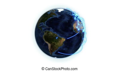 Blue network on the Earth with Earth image courtesy of...