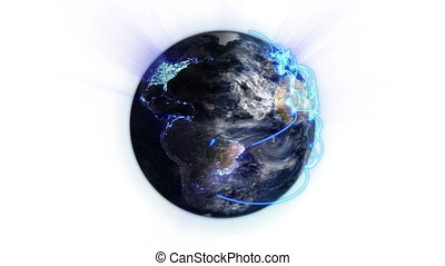 Blue network on a lighted and shaded Earth with moving...