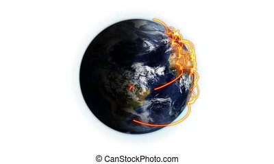 Orange network on a shaded and cloudy Earth with Earth image...