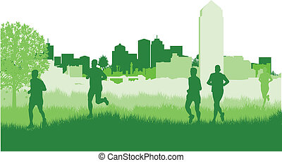 runners in a field