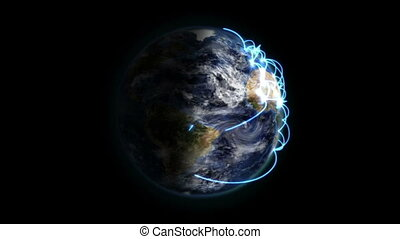 Zoom out of a blue network on a shaded Earth with moving...