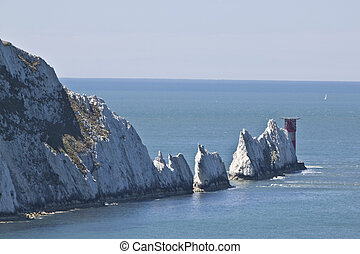 the needles, isle of wight - the famous needles on the south...