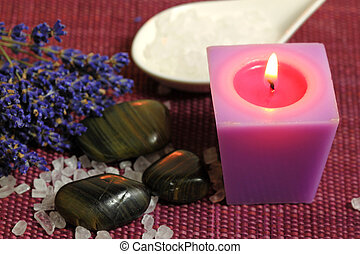 Spa with dried lavender - Relax in spa - burning candle,...